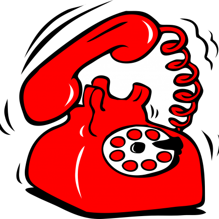 A red phone ringing off the hook.